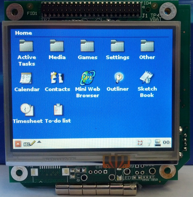 The front side of a TSC‑35 running GPE, a Free/Libre Software palmtop environment, on Medallion Linux